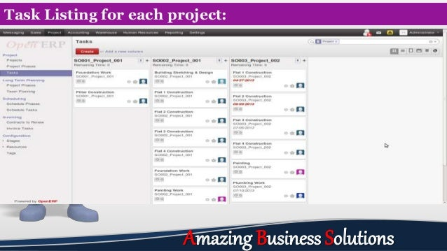 Task Listing for each project: Amazing Business Solutions