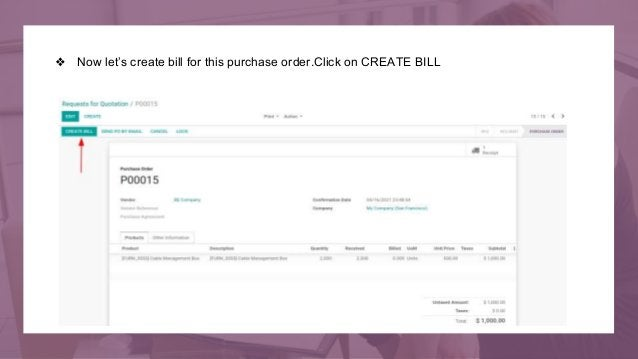 ❖ Now let's create bill for this purchase order.Click on CREATE BILL