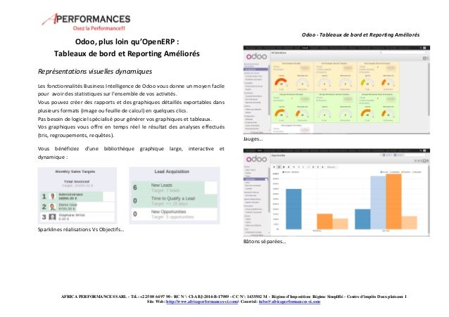 Odoo - Tableaux de bord et Reporting Améliorés  AFRICA PERFORMANCES SARL - Tél.: +225 08 64 97 90 - RC N°: CI-ABJ-2014-B-1...