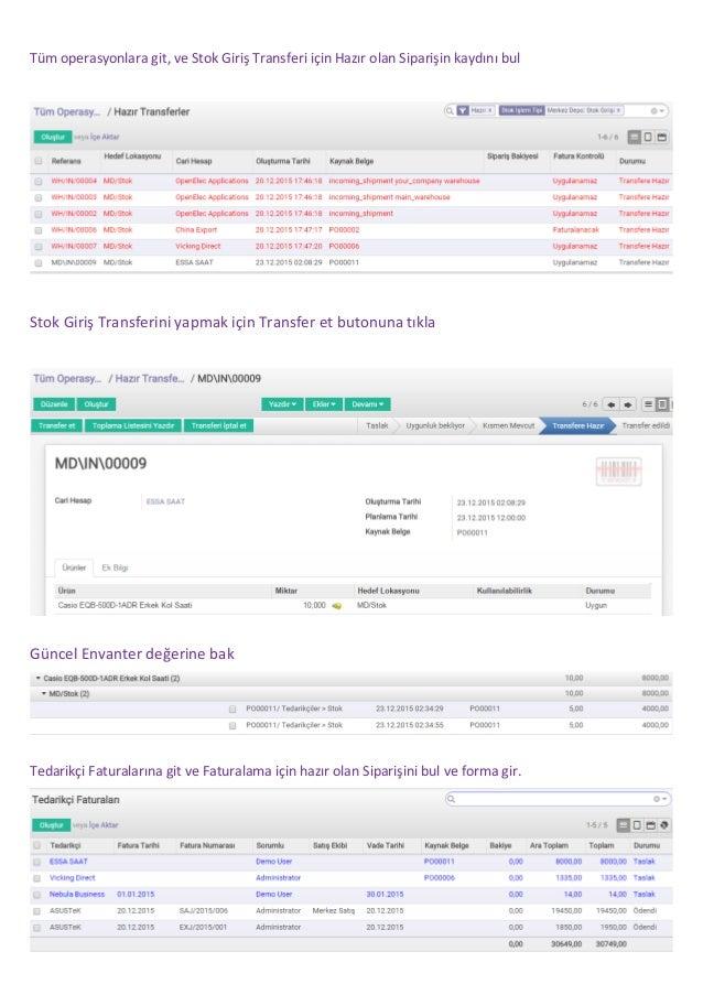 Odoo iş uygulamasında satınalma, stok girişi ve tedarikçi faturası ödemesi nasıl yapılır? Slide 3