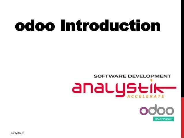 odoo Introduction analystik.ca