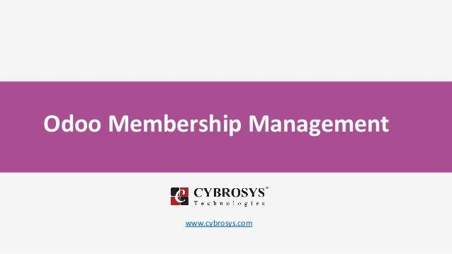 Odoo Membership Management www.cybrosys.com