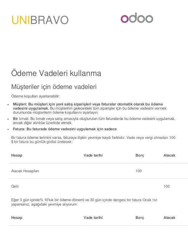 Odoo'da Ödeme Vadeleri nasıl tanımlanır? Slide 2
