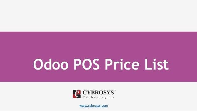www.cybrosys.com Odoo POS Price List