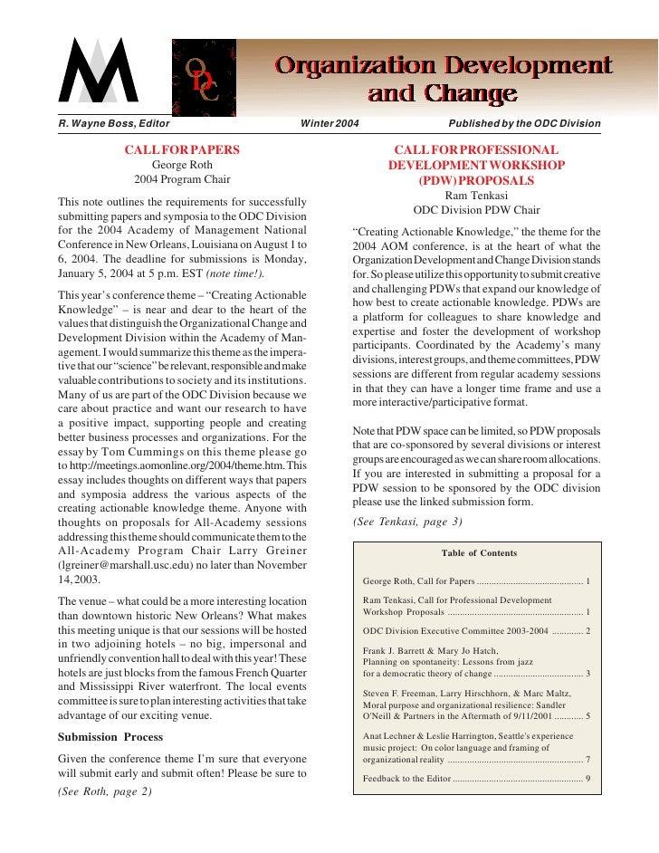 Organization Development and Change Division R. Wayne Boss, Editor                                   Winter 2004          ...