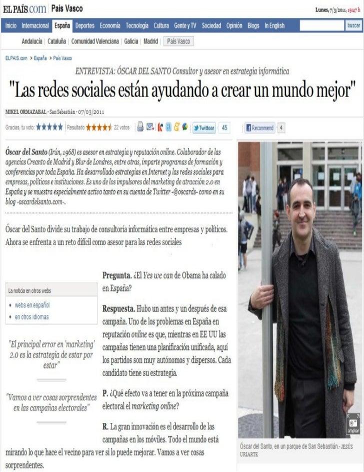 Oscar Del Santo en 'El Pais'