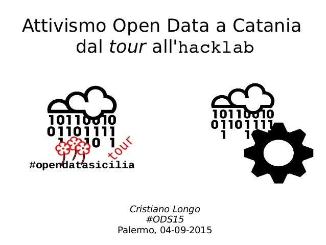 Attivismo Open Data a Catania dal tour all'hacklab #opendatasicilia Cristiano Longo #ODS15 Palermo, 04-09-2015