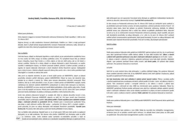 Od události k titulku - pracovní list, dopis Andreje Babiše