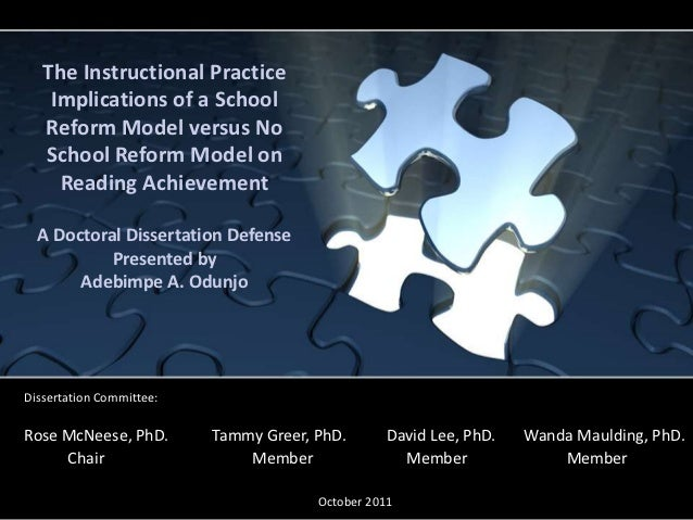 The Instructional Practice    Implications of a School   Reform Model versus No   School Reform Model on     Reading Achie...