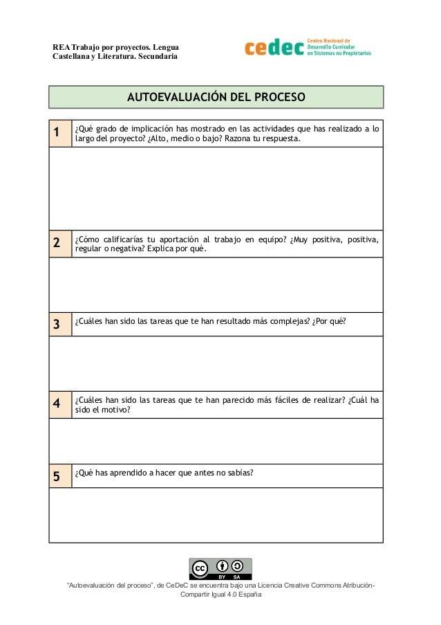 REA Trabajo por proyectos. Lengua Castellana y Literatura. Secundaria AUTOEVALUACIÓN DEL PROCESO 1 ¿Qué grado de implicaci...