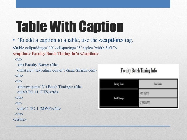 Caption Tag In Html 6
