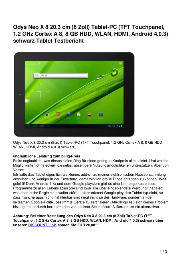 Odys Neo X 8 20,3 cm (8 Zoll) Tablet-PC (TFT Touchpanel,1.2 GHz Cortex A 8, 8 GB HDD, WLAN, HDMI, Android 4.0.3)schwarz Ta...