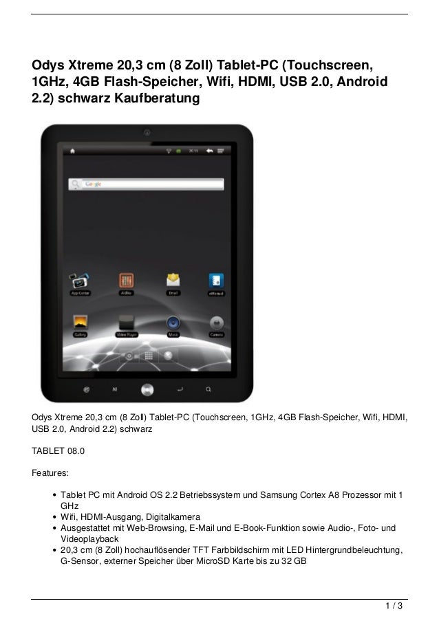 Odys Xtreme 20,3 cm (8 Zoll) Tablet-PC (Touchscreen,1GHz, 4GB Flash-Speicher, Wifi, HDMI, USB 2.0, Android2.2) schwarz Kau...