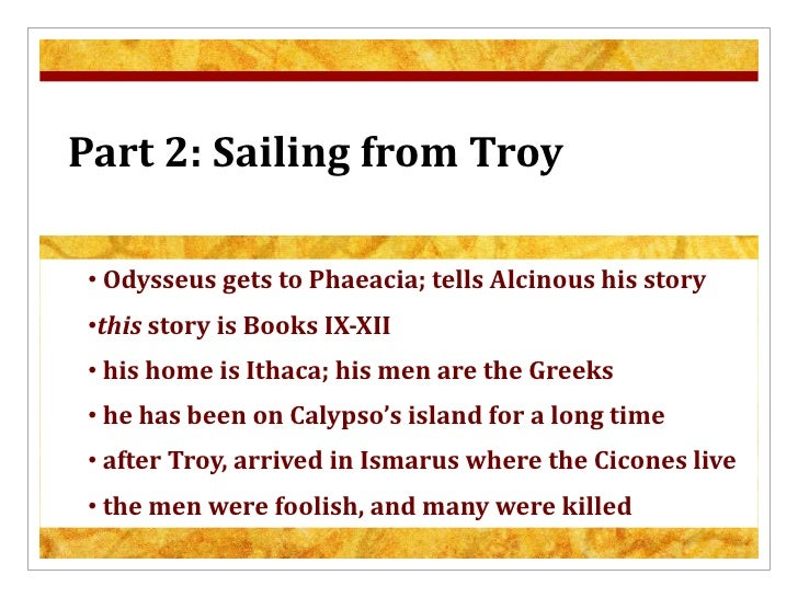 The odyssey sailing from troy summary