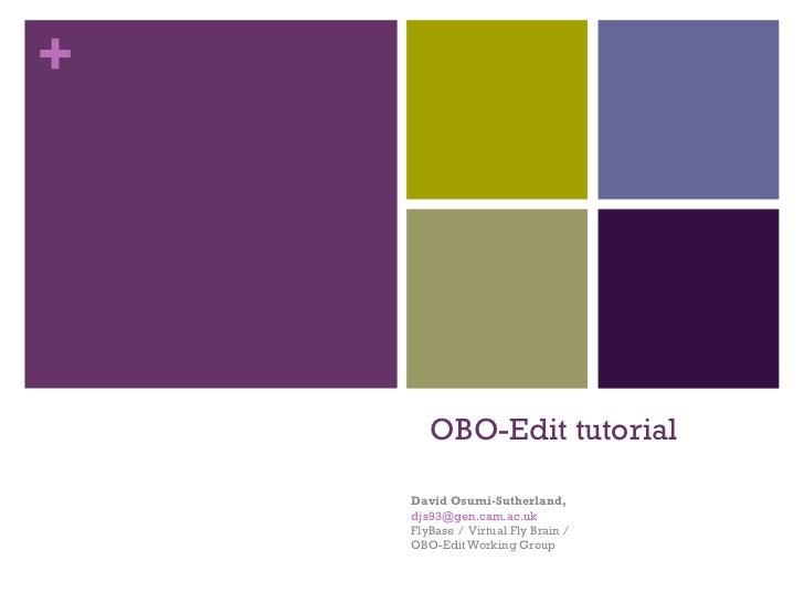 OBO-Edit tutorial David Osumi-Sutherland,  [email_address] FlyBase /  Virtual Fly Brain /  OBO-Edit Working Group
