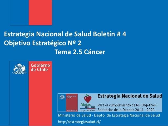 Estrategia Nacional de Salud Boletín # 4 Objetivo Estratégico Nº 2 Tema 2.5 Cáncer Ministerio de Salud - Depto. de Estrate...