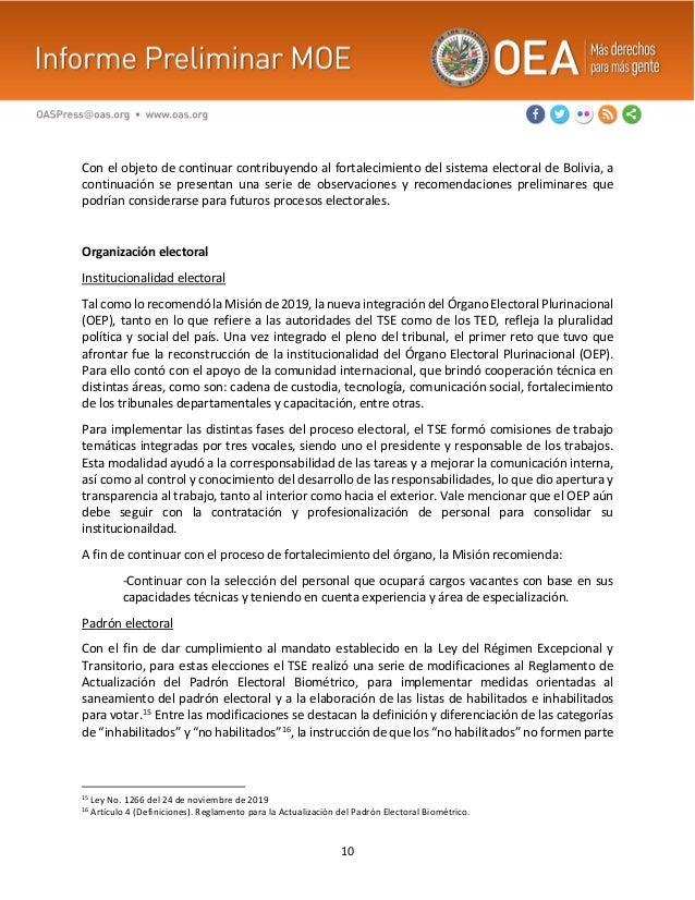 10 Con el objeto de continuar contribuyendo al fortalecimiento del sistema electoral de Bolivia, a continuación se present...