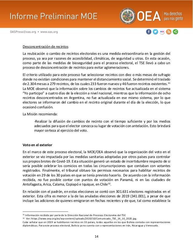 14 Desconcentración de recintos La reubicación o cambio de recintos electorales es una medida extraordinaria en la gestión...