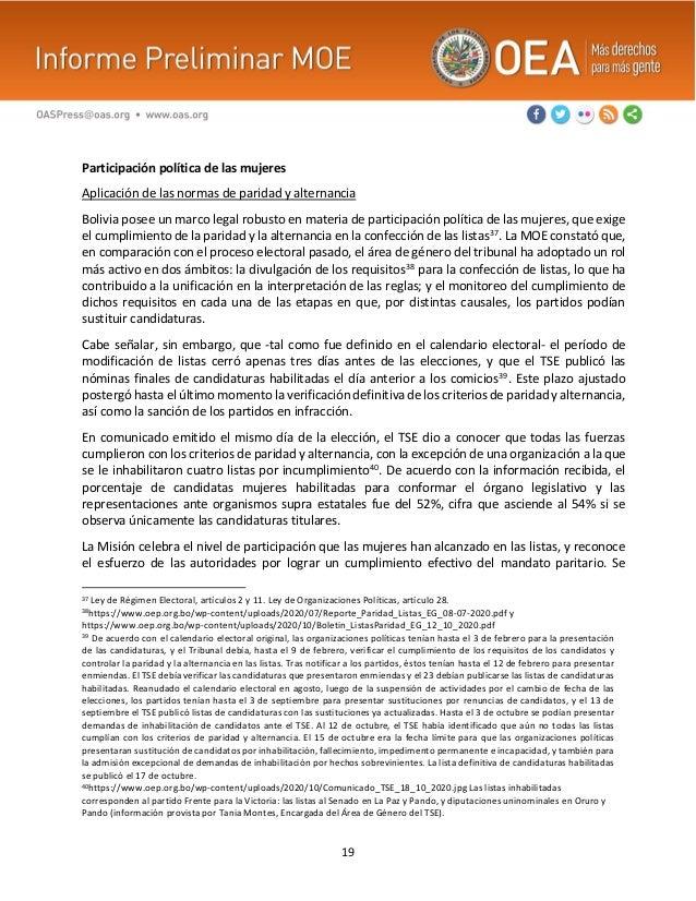 19 Participación política de las mujeres Aplicación de las normas de paridad y alternancia Bolivia posee un marco legal ro...