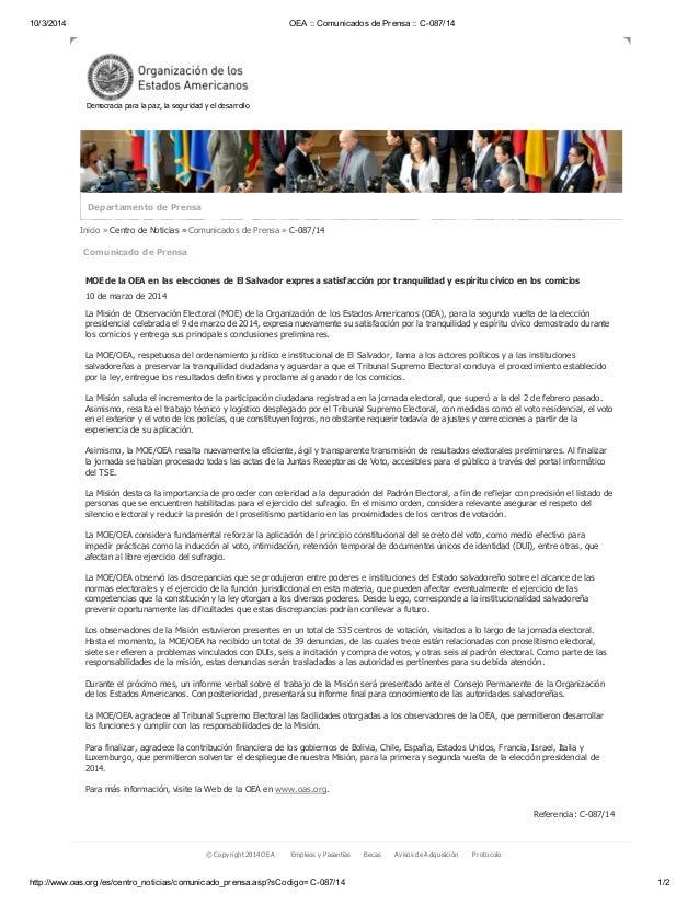 10/3/2014 OEA :: Comunicados de Prensa :: C-087/14 http://www.oas.org/es/centro_noticias/comunicado_prensa.asp?sCodigo=C-0...