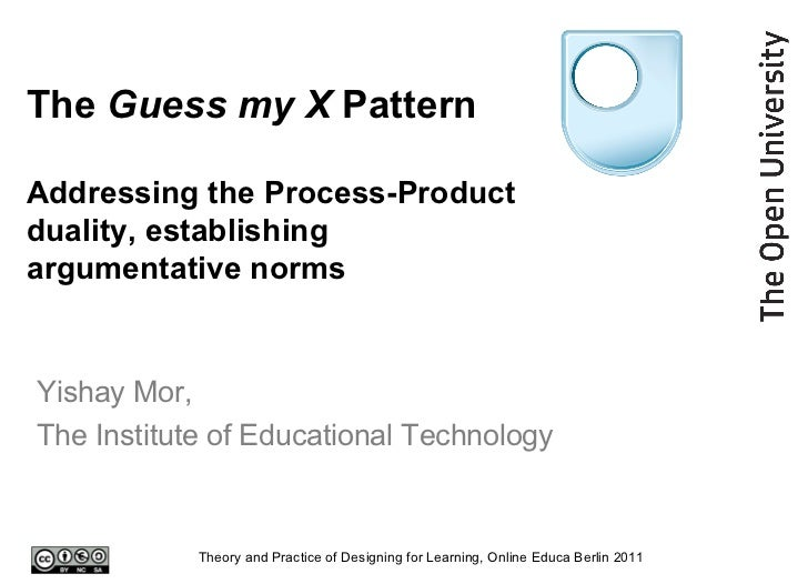 The  Guess my X  Pattern Addressing the Process-Product duality, establishing argumentative norms Yishay Mor,  The Institu...