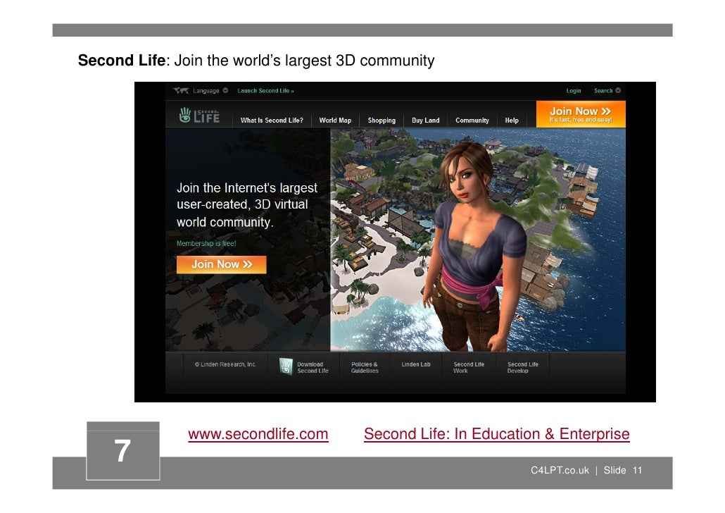 Second Life: Join the world's largest 3D community                    www.secondlife.com                         dlif     ...