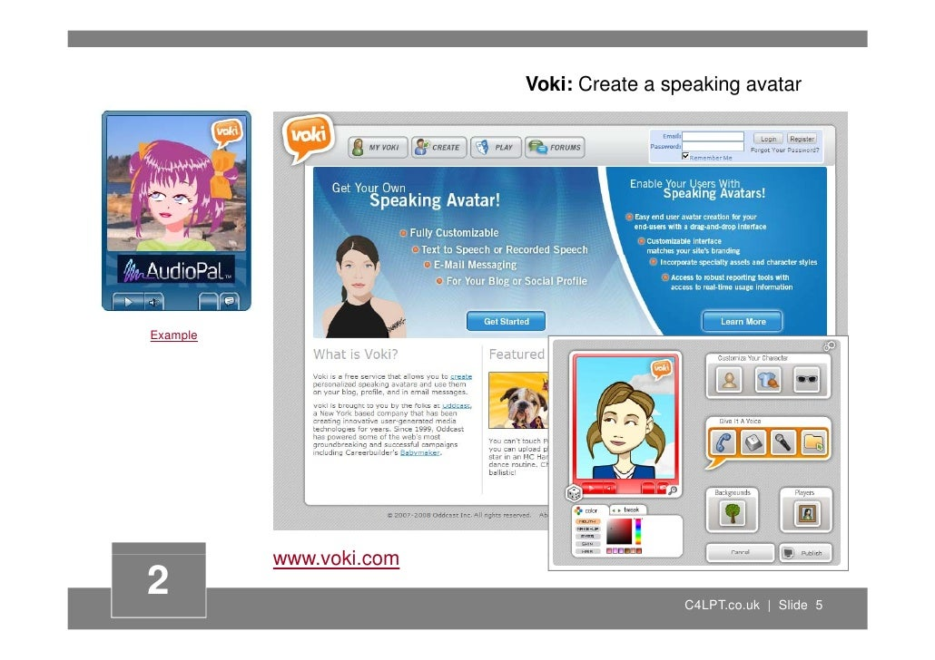 Voki: Create a speaking avatar     Example               www.voki.com                 ki 2                                ...