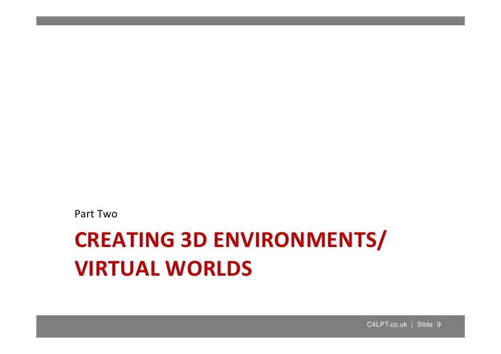 Part Two Part Two  CREATING 3D ENVIRONMENTS/  VIRTUAL WORLDS                         C4LPT.co.uk | Slide 9