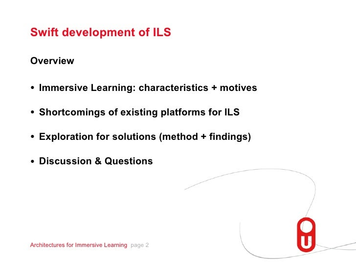 Exploring Architectures for Fast and Easy Development of Immersive Learning Scenarios Slide 2