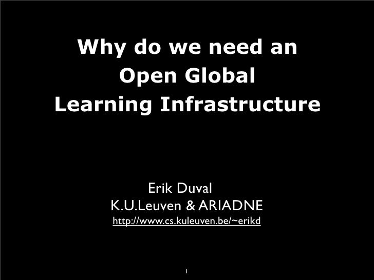 Why do we need an      Open Global Learning Infrastructure             Erik Duval     K.U.Leuven & ARIADNE      http://www...