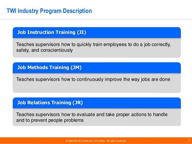 Training Within Industry Program: TWI Frameworks