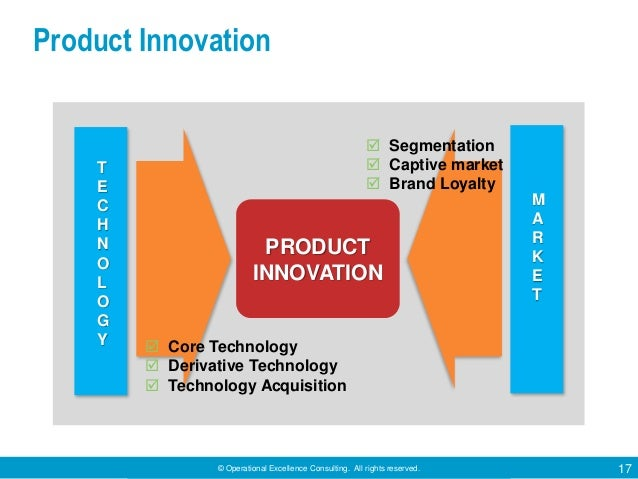 © Operational Excellence Consulting. All rights reserved. 17 T E C H N O L O G Y PRODUCT INNOVATION M A R K E T  Core Tec...
