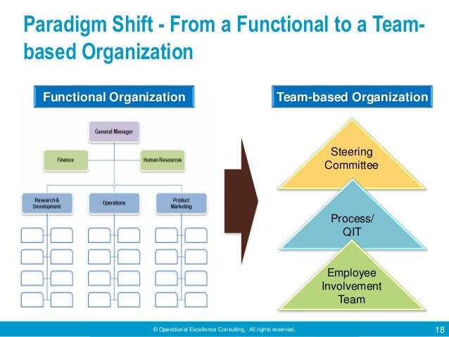 © Operational Excellence Consulting. All rights reserved. 18 Paradigm Shift - From a Functional to a Team- based Organizat...