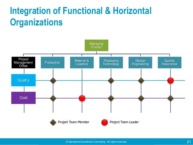 © Operational Excellence Consulting. All rights reserved. 21 Integration of Functional & Horizontal Organizations Quality ...
