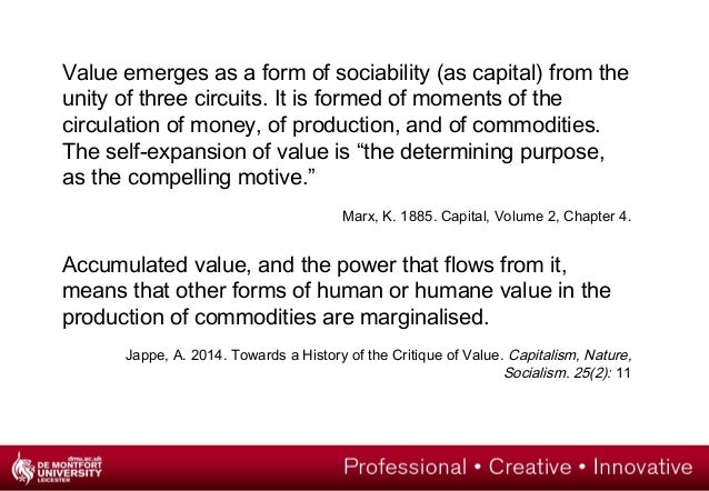 Value emerges as a form of sociability (as capital) from the  unity of three circuits. It is formed of moments of the  cir...