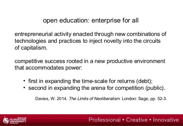 open education: enterprise for all  entrepreneurial activity enacted through new combinations of  technologies and practic...