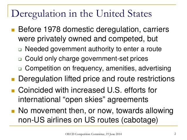 an analysis of deregulation in united states The regulation, deregulation and ownership of media in the united states, the motion picture association of america (mpaa) is a voluntary and widely-used system that rates films released by distributors films shown on television.