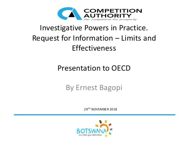 29TH NOVEMBER 2018 Investigative Powers in Practice. Request for Information – Limits and Effectiveness Presentation to OE...