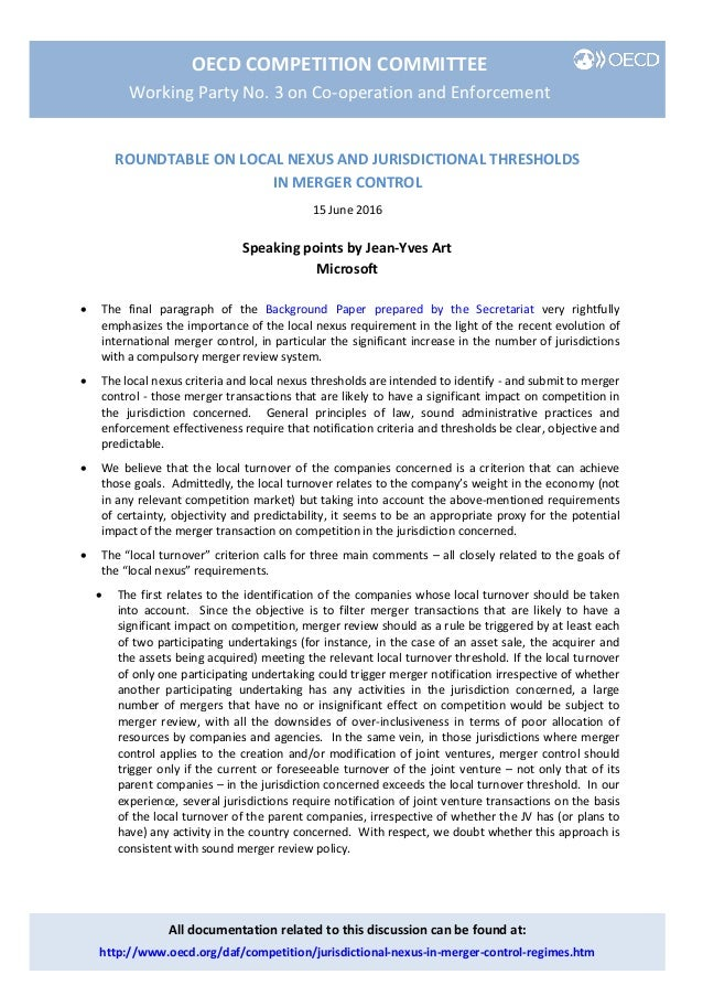 OECD COMPETITION COMMITTEE Working Party No. 3 on Co-operation and Enforcement All documentation related to this discussio...