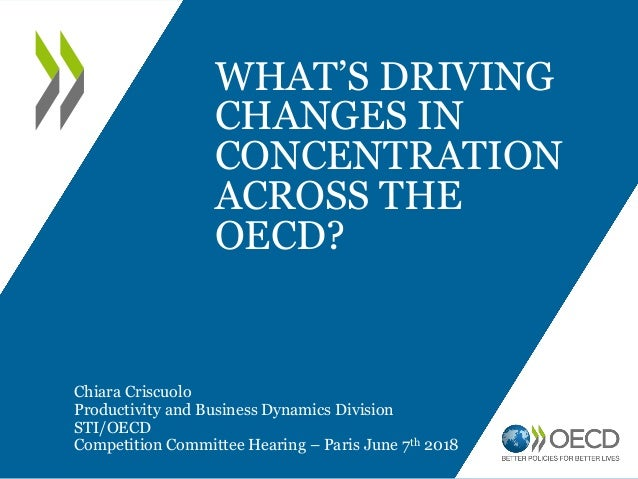 WHAT'S DRIVING CHANGES IN CONCENTRATION ACROSS THE OECD? Chiara Criscuolo Productivity and Business Dynamics Division STI/...