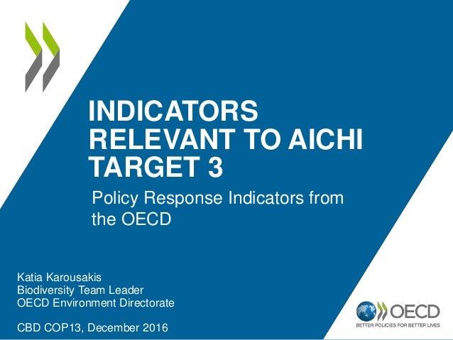 INDICATORS RELEVANT TO AICHI TARGET 3 Katia Karousakis Biodiversity Team Leader OECD Environment Directorate CBD COP13, De...