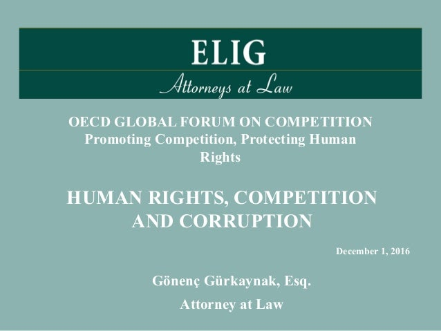 Gönenç Gürkaynak, Esq. Attorney at Law HUMAN RIGHTS, COMPETITION AND CORRUPTION OECD GLOBAL FORUM ON COMPETITION Promoting...