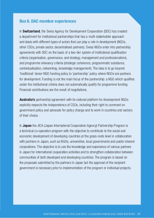 Partnering With Civil Society 12 Lessons From Dac Peer Reviews Oecd