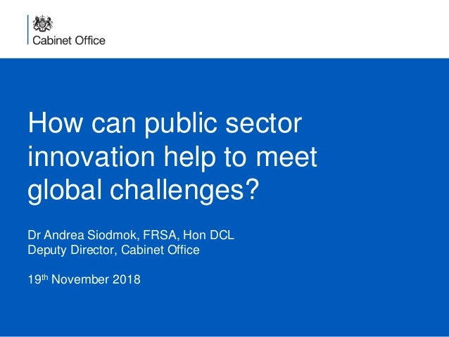 How can public sector innovation help to meet global challenges? Dr Andrea Siodmok, FRSA, Hon DCL Deputy Director, Cabinet...