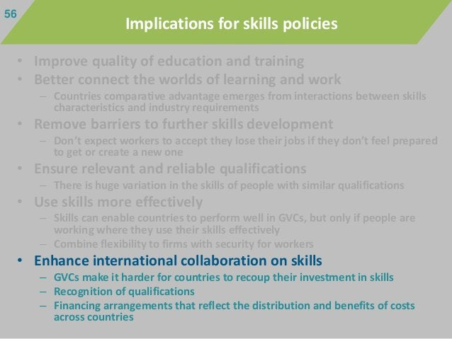 • Improve quality of education and training • Better connect the worlds of learning and work – Countries comparative advan...