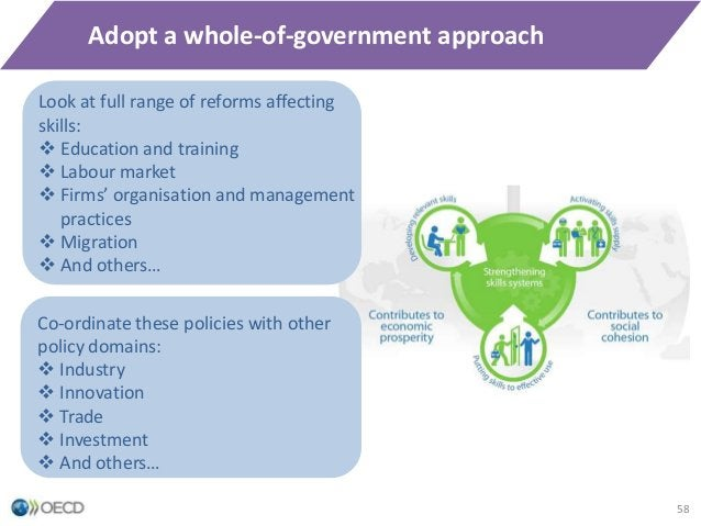 Adopt a whole-of-government approach 58 Co-ordinate these policies with other policy domains:  Industry  Innovation  Tr...