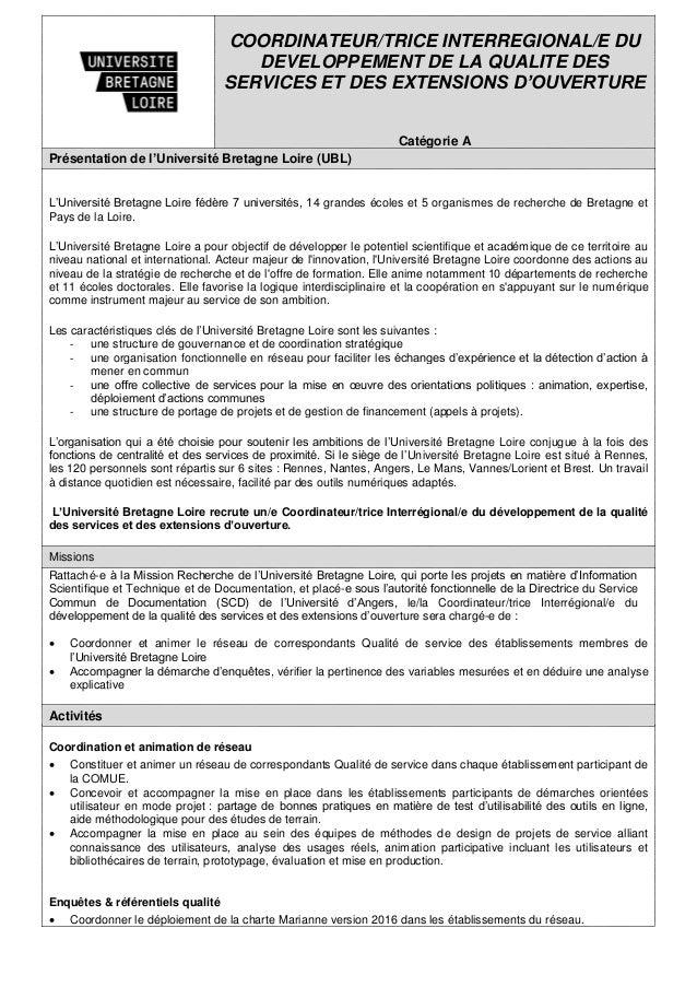 COORDINATEUR/TRICE INTERREGIONAL/E DU DEVELOPPEMENT DE LA QUALITE DES SERVICES ET DES EXTENSIONS D'OUVERTURE Catégorie A P...