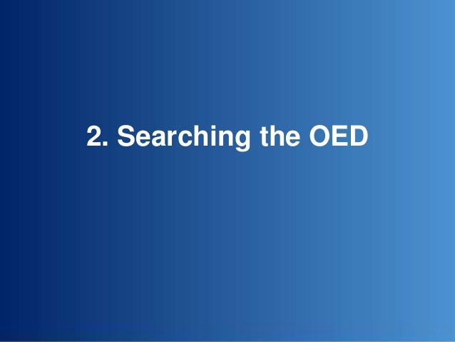 2. Searching the OED