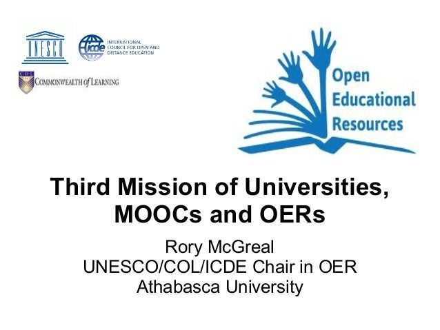Third Mission of Universities, MOOCs and OERs Rory McGreal UNESCO/COL/ICDE Chair in OER Athabasca University
