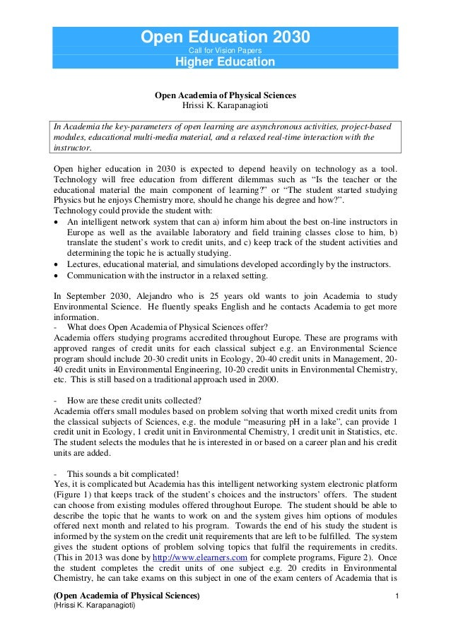 Open Education 2030Call for Vision PapersHigher Education(Open Academia of Physical Sciences) 1(Hrissi K. Karapanagioti)Op...
